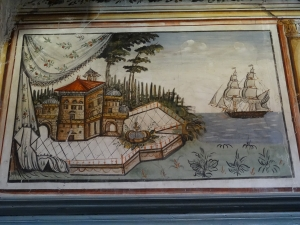 Wall painting on the town house Vareltzidaina, late 18th century. Village of Petra. Lesbos.
