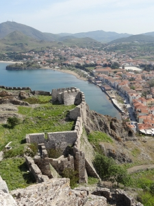 View of Myrinas, capital of the island of Lemnos, since the citadel built in the 12th century on ancient foundations by the Byzantine emperor Andronic Comnene, with Venetian, Genoan and Turkish additions.