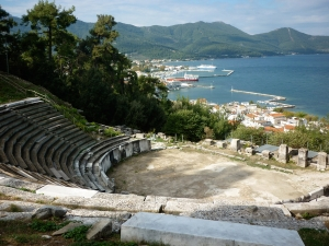 Antique theatre at Limenas. Island of Thasos.