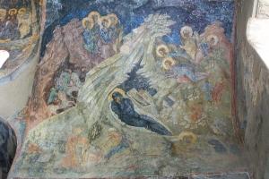 Naissance du Christ. Fresque de la Périvleptos, Péloponnèse.