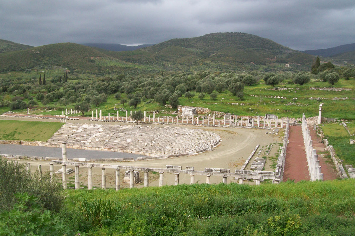 Stadium and portico at ancient Messene.
