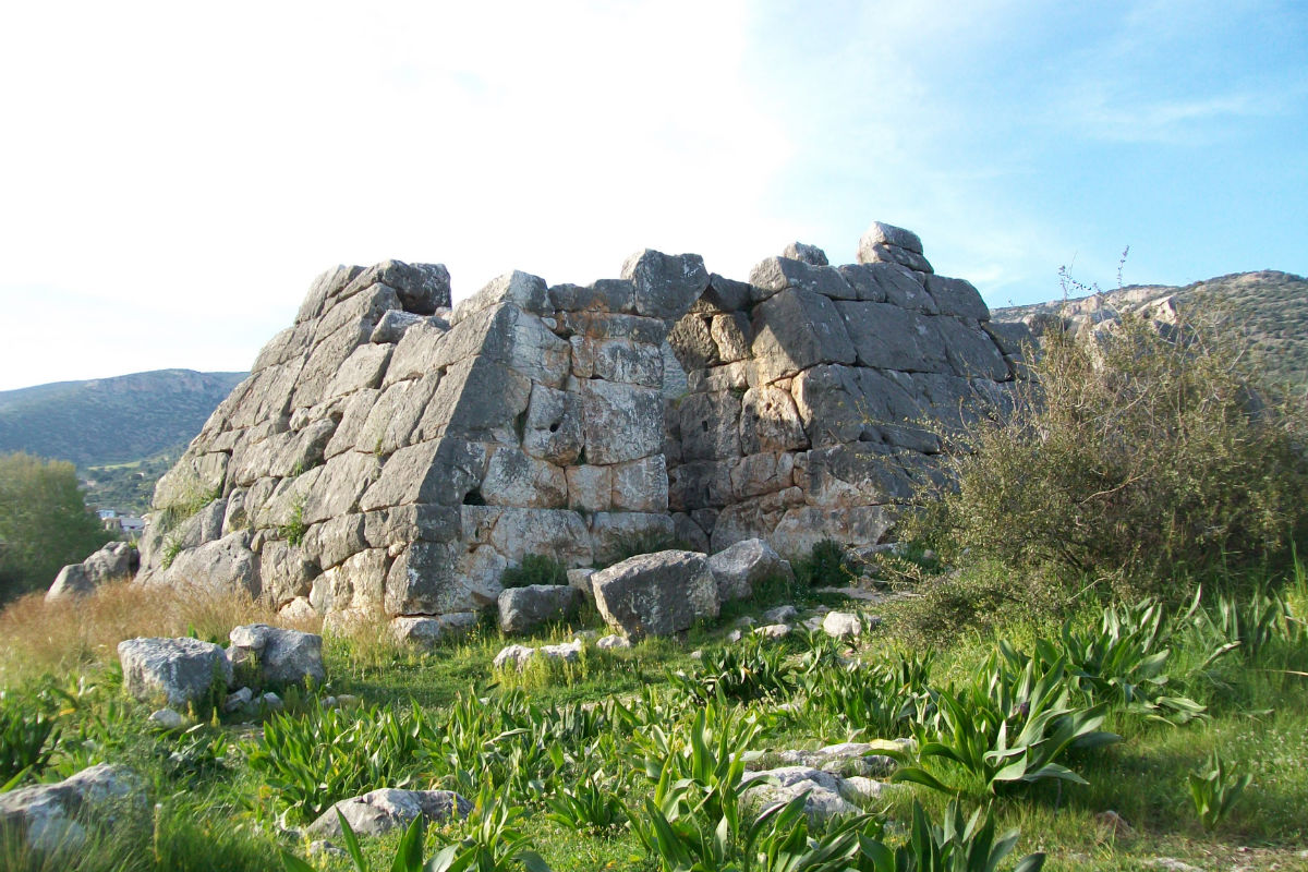 Pyramid of Kenchrai near the village of Helliniko in Argolida. Very rare shape in Greece. Originally it was a collective tomb for argian soldiers victorious against the Spartan (669BC) and after used as a small fort.