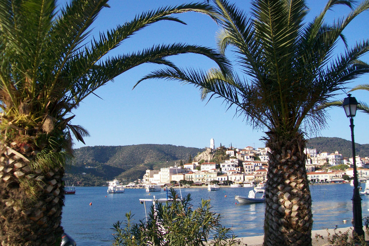 Island of Poros seen from the coast of Argolid.