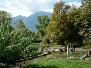 Sanctuary of Zeus at Dion. In the back ground the Mount Olympus.