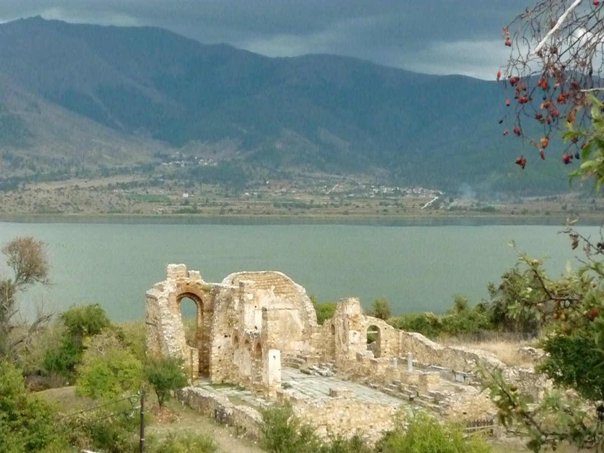 Ruins of the basilica of Saint Achilles on the islet of the same name, where is buried Samuel, tsar of the Bulgarians, on the lake Prespa, bordering on Greece, Albania and slavic Macedonia.