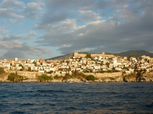 Kavala with its turkish remparts.