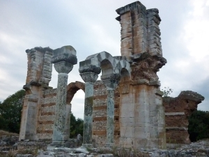 Ruins of a basilica ( 5th century AC), Philippes ( north of Kavala ). This town took its name from the father of Alexander the Great. Octavian and Mark-Antony crushed there the murderers of Caesar, Brutus and Cassius (42 BC).