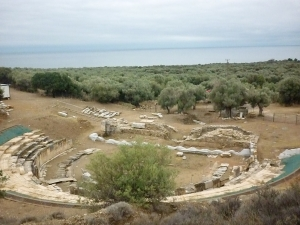 Theatre at Maroneia ; founded in the 7th century BC and inhabited right up to the Byzantine era. It is referred to by Homer by the name of Ismaros : its wine reputedly used to intoxicate Cyclops!