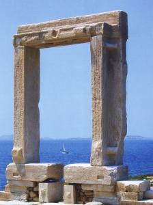 Marble Porte de Portara part of the unfinished temple of Apollo, on islet of Palatia, Chora. Naxos.