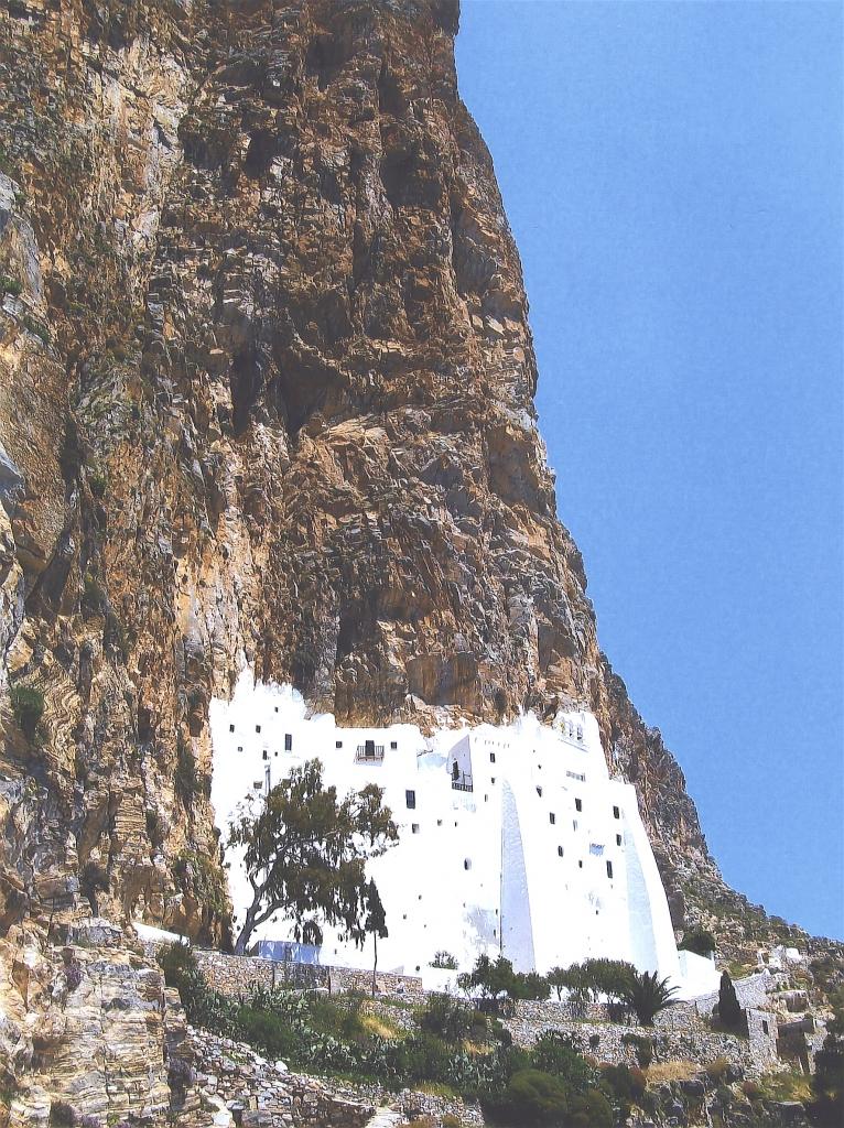 Chozoviotissa Monastery founded 1088 by Byzantine Emperor Alexis Comnene. Island of Amorgos .