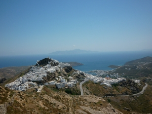 View of Chora and of the port. Island of Serifos.