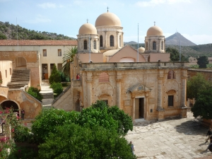 Venitian monastery of Aghia Triada ( Holy Trinity ), 17th century, on the peninsula of Akrotiri near Chania.