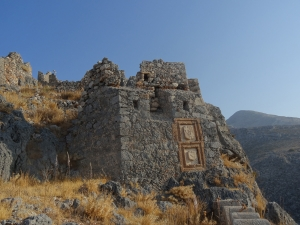 Fortress of Chora, built by the Byzantines and then extended by the Knights of St John whom you can see the blazons.
