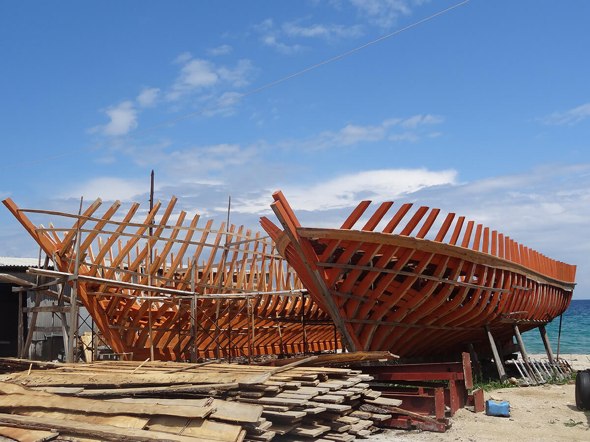 Shipyard for traditional fishing boats. Halkidiki